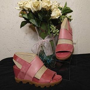 NEW Sorel Leather Joanie Wedge Sandals 8